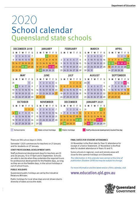 school calendar  queensland state schools