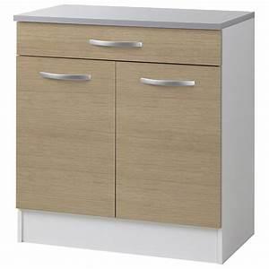 Meuble Bas 2 Portes : meuble bas 2 portes 1 tiroirs 80cm smarty naturel ~ Dallasstarsshop.com Idées de Décoration