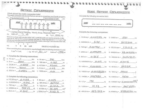 metric conversion practice worksheet answers worksheets