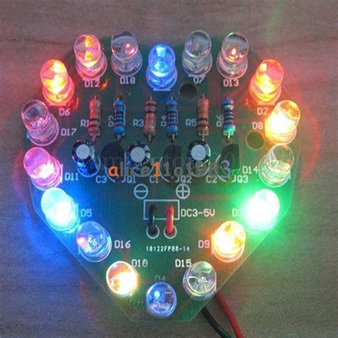 Led Heart Cycle Lamp Suite Flashlight Diy Kit
