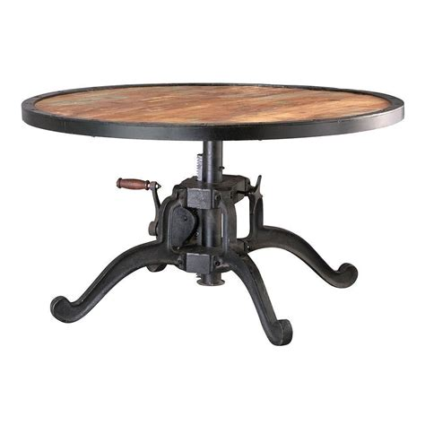 A round extendable table will become an oval when a leaf is added. Home Decorators Collection Industrial 36 in. Round Adjustable Height Natural Reclaimed Coffee ...