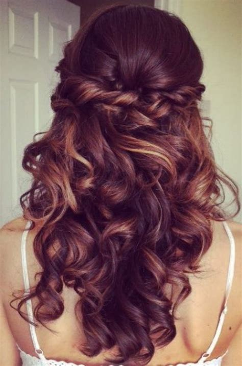 Curled Prom Hairstyles by Curly Half Updo Prom Hairstyle With Bouncy