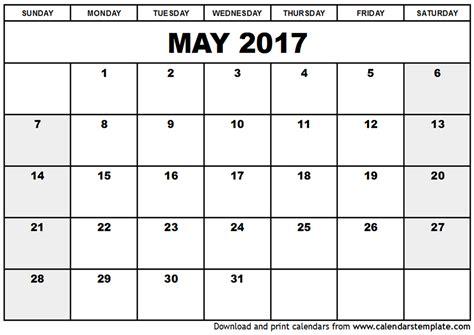 May 2017 Calendar | weekly calendar template