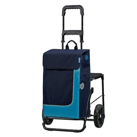 siege de course chariot de courses 49 litres isotherme siège pliant bleu