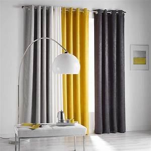 Rideau Jaune Et Blanc : rideau occultant 140 x 240 cm opacia jaune rideau occultant eminza ~ Teatrodelosmanantiales.com Idées de Décoration