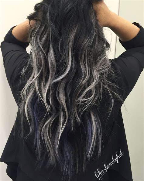 black silver balayage curly hair hair skin nails