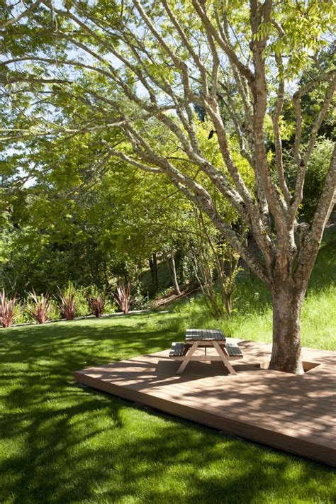 landscaping wood patio trees