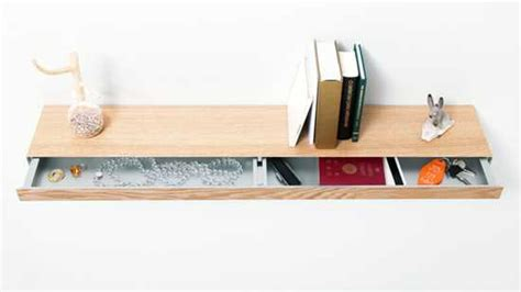 floating shelf  sliding drawer  small storage