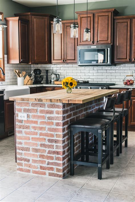 Brick Kitchen Cupboards by Diy Brick Kitchen Island The Of Our