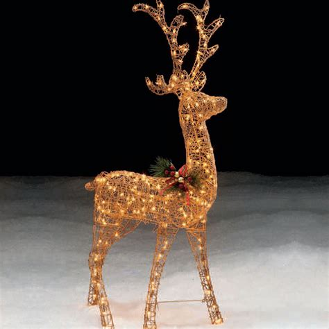 trim  home  lighted gold standing deer christmas