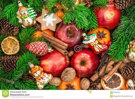 Christmas Ornaments And Decorations. Apples, Mandarin