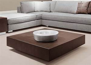 Square low profile coffee table painted with brown color for Coffee table for a sectional sofa