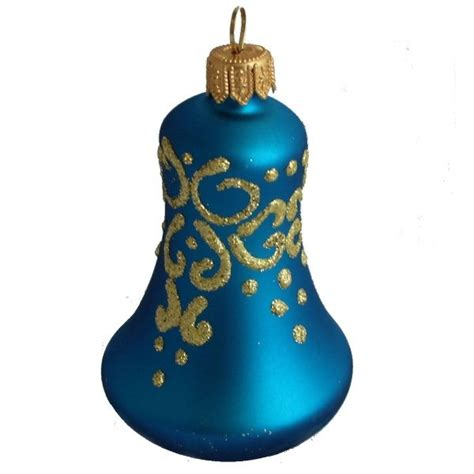 glass christmas ornaments christmas bell veil blue
