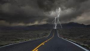 Wallpaper, Landscape, Mountains, Dark, Nature, Grass, Field, Road, Clouds, Lightning, Storm