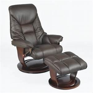 Fauteuil Cuir Et Bois : fauteuil relax en cuir pivotant avec repose pieds et pi tement bois ramses marron ~ Teatrodelosmanantiales.com Idées de Décoration