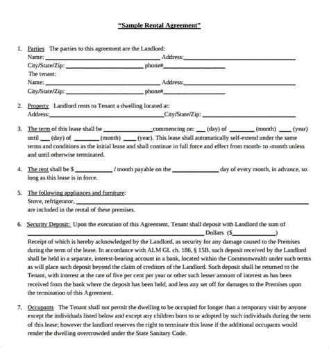 sample blank rental agreement   documents