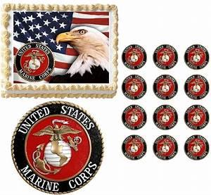 United States Marine Corps Seal Eagle Military Edible Cake