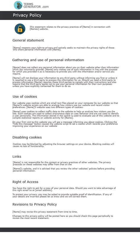 Generic Privacy Policy Template by Glance At A Standard Terms And Conditions Template