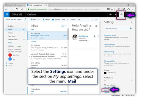 Office 365 Mail by Set The Default Reply Option For Owa And Set Mail Tips For