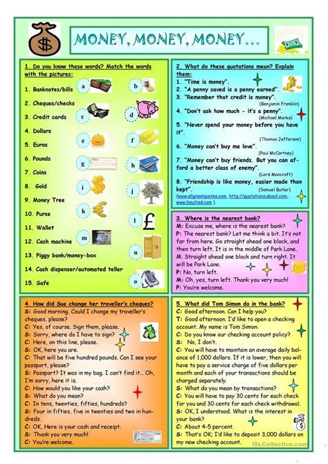 160 free esl money worksheets