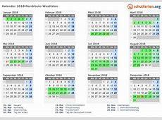 Kalender 2018 + Ferien NordrheinWestfalen, Feiertage