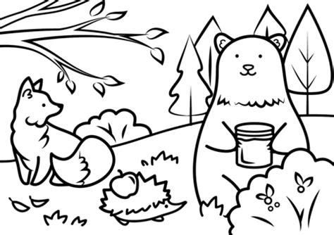 Coloring Page Animal Autumn Animals Coloring Page Free Printable Coloring Pages