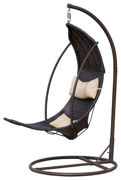 thompson outdoor wicker swinging lounge chair brown