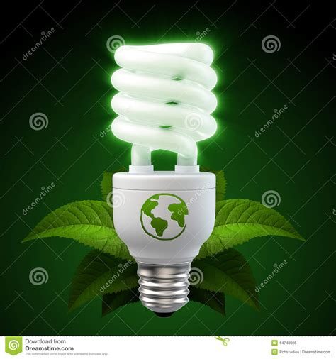 white energy saving light bulb with leafs on black royalty