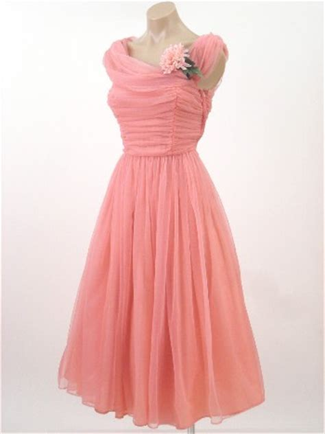 ss coral pink chiffon party dress vintage prom
