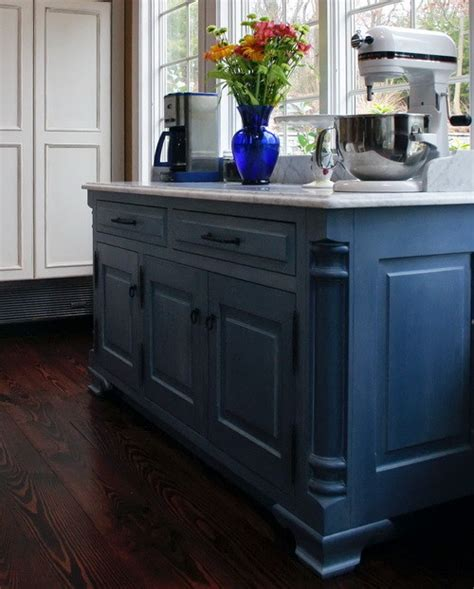 blue kitchen island blue cabinetry