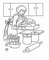 Coloring Cook Thanksgiving Dinner Dibujos Printable Cooking Colorear Casas Mum Colouring Colorir Baking Pintar Barbie Feast Jobs Coloringhome Printables Cocinera sketch template