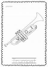 Instruments Trace Pages Brass Musical Instrument sketch template