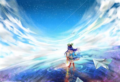 Anime Water Wallpaper - hinanawi tenshi touhou blue hair water wallpaper