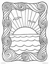 Coloring Sunset Waves Printable Ocean Sheet Sun Adults Cool Frame Wave Nature Mountain Kawaii Drawing Popular Surf Scene Getcolorings sketch template