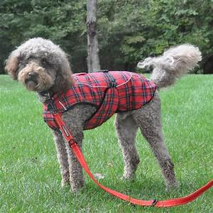 Dog plaid faux fur lined winter coat with harness opening for Dog flannel jacket