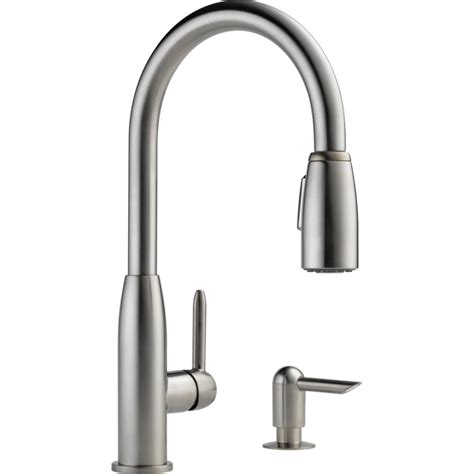kitchen faucet with sprayer and soap dispenser shop peerless stainless 1 handle pull kitchen faucet