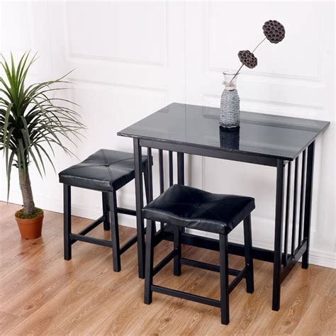 kitchen bar furniture 3 pcs modern counter height dining set table and 2 chairs