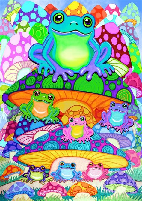 colorful magic more colorful frogs on colorful magic mushrooms painting
