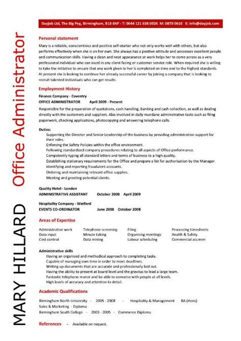 Administrative Resume by Office Administrator Resume Exles Cv Sles Templates Duties Administrative Assistant