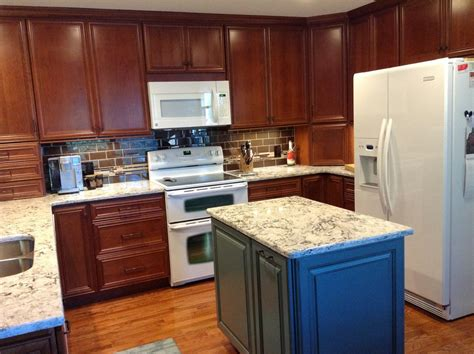 blue kitchen with oak cabinets jeffrey hardware kitchen traditional with apron 7942