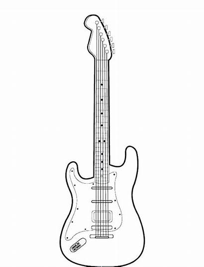 Guitar Coloring Electric Bass Pages Printable Acoustic