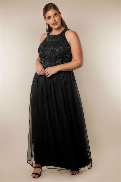 Luxe Black Bead Embellished Fully Lined Maxi Dress With