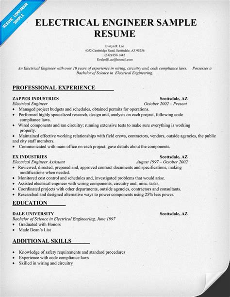 resume template for electrical engineers electrical engineer resume sle resumecompanion resume sles across all industries