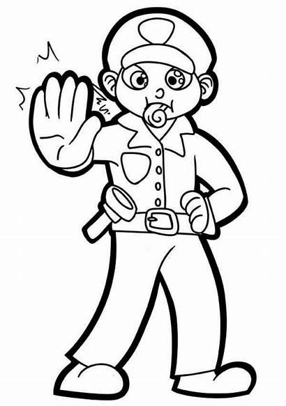 Police Coloring Officer Pages Whistle Cop Policeman
