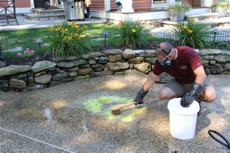 cleaning concrete patio with muriatic acid how to remove a rust stain concrete or bluestone