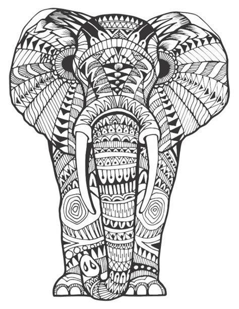 159 best Elephant Coloring Pages for Adults images on Pinterest