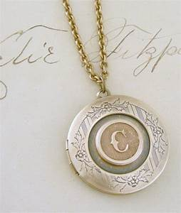 Locket necklace initial c letter c vintage brass jewelry for Letter locket necklace