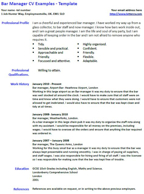 bar manager cv   template lettercvcom