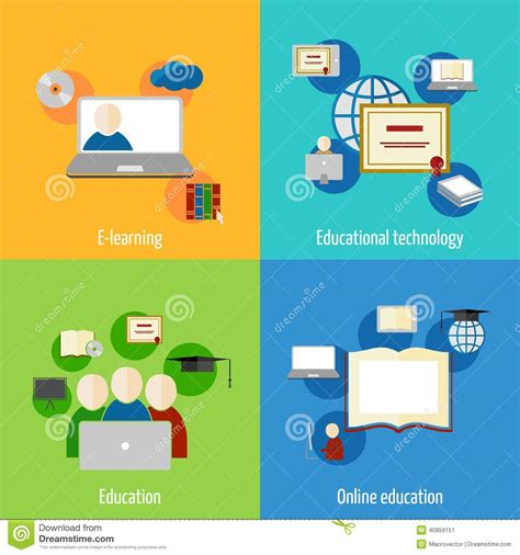 Online Education Icon Flat Stock Vector Image Of Class
