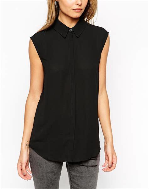 black sleeveless blouse asos sleeveless blouse in black lyst